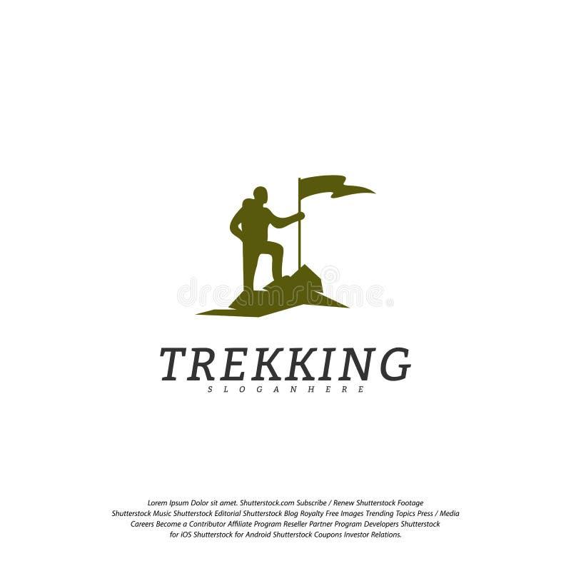 登山人传染媒介商标模板 攀岩运动员商标 室外活动标志商标 向量例证