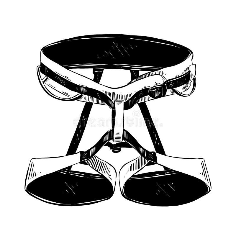 登山人传送带手拉的剪影在白色背景在黑色的隔绝的 详细的葡萄酒蚀刻样式图画 向量例证