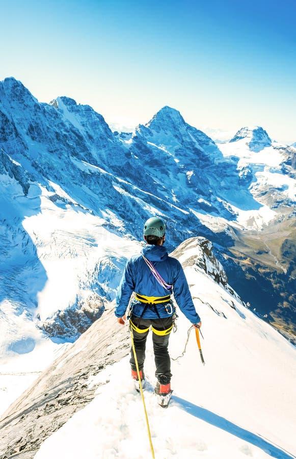 登山人到达山峰山顶  成功,自由a 免版税库存照片
