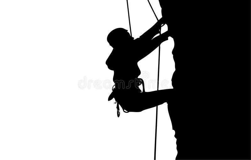 登山人剪影 库存例证