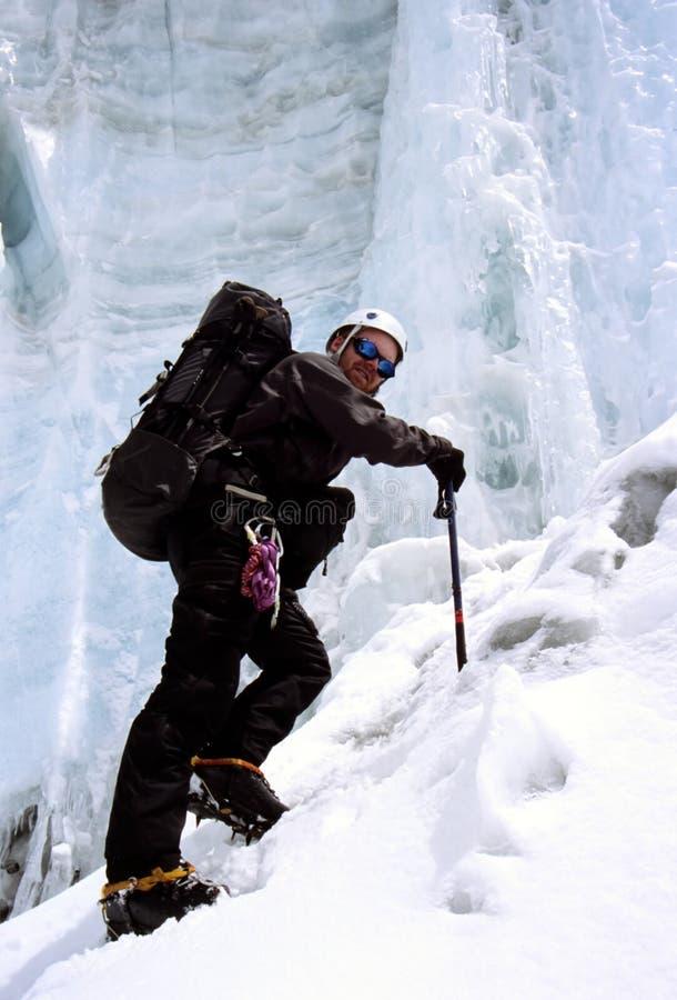 登山人喜马拉雅冰 库存照片
