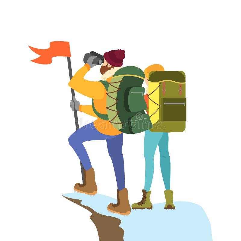 登山人在山峰的夫妇身分与旗子 库存例证