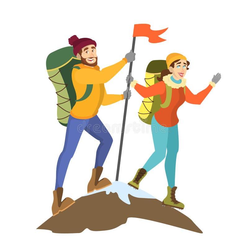 登山人在山峰的夫妇身分与旗子 皇族释放例证