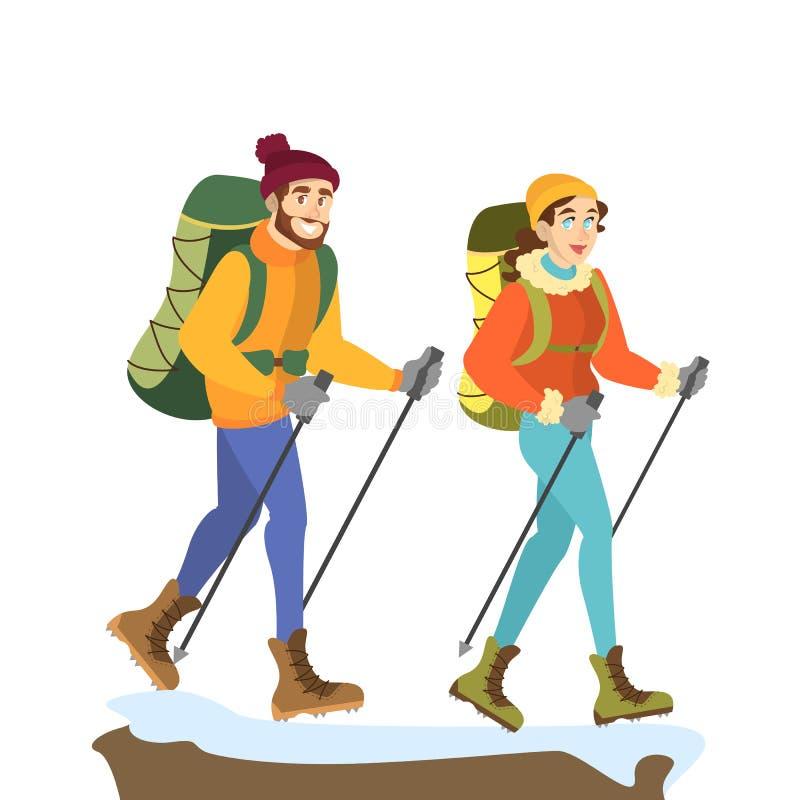 登山人夫妇 男人和妇女特别衣裳的 向量例证