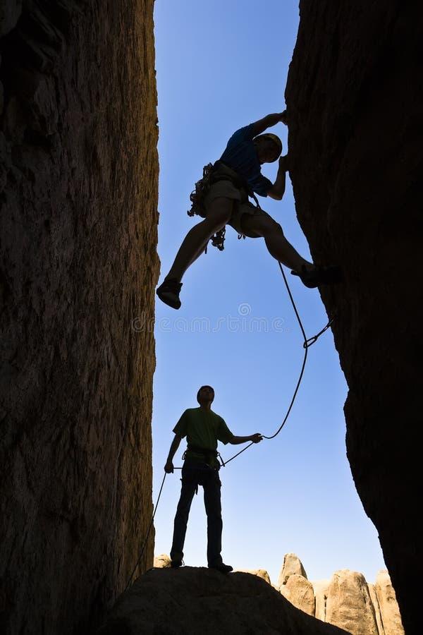 登山人岩石小组 免版税库存照片