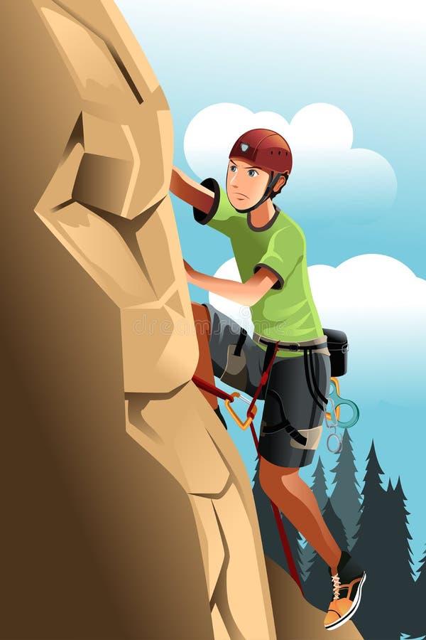 登山人岩石 皇族释放例证