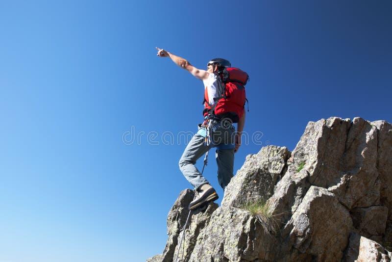 登山人指向 库存照片