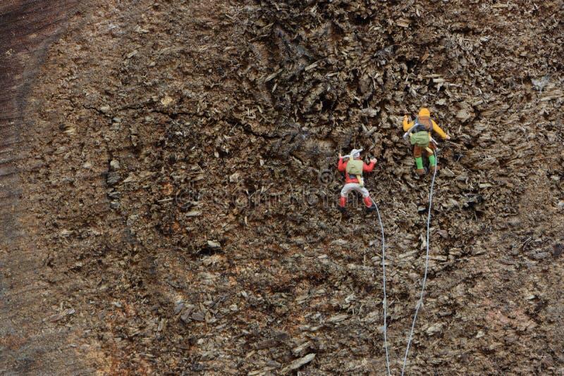 登山人攀登山 免版税库存图片