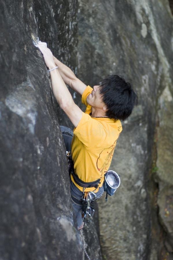 登山人日本人岩石 免版税库存图片