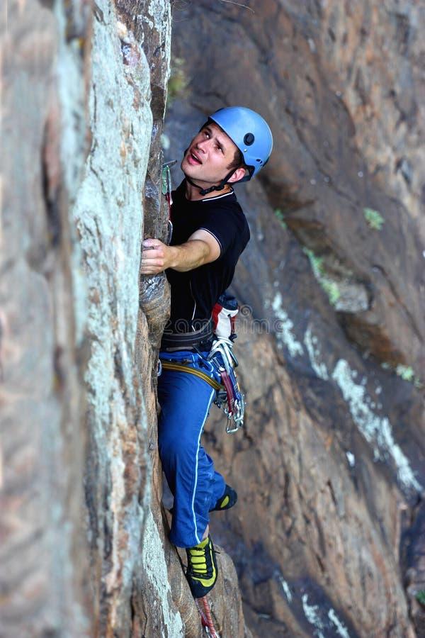 登山人极端 免版税库存图片