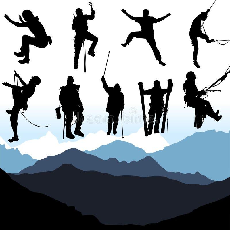 登山人被设置的向量 皇族释放例证