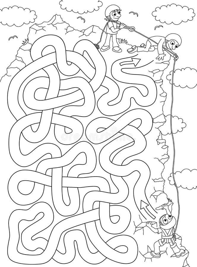 登山人-孩子的迷宫 库存例证