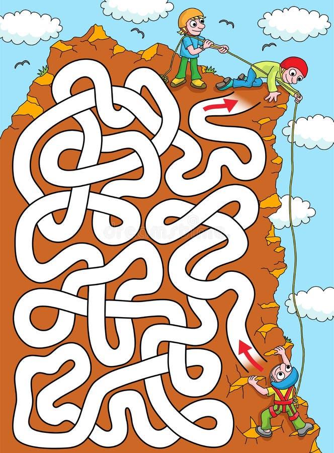 登山人-容易的迷宫 库存例证