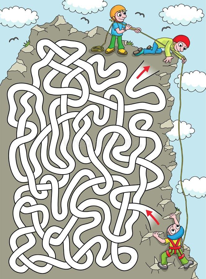 登山人-艰苦迷宫 皇族释放例证