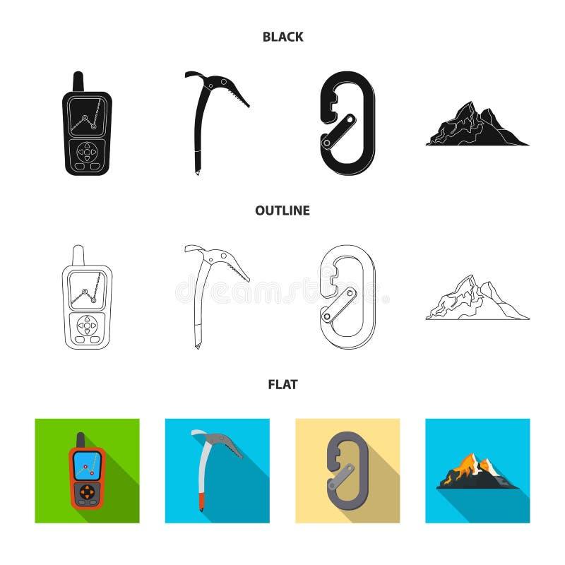 登山和峰顶标志传染媒介设计  套登山和阵营储蓄传染媒介例证 库存例证