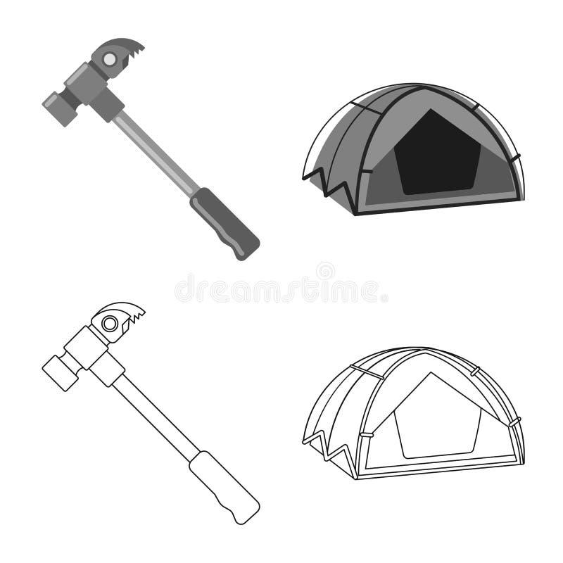 登山和峰顶标志的传染媒介例证 套登山和阵营储蓄传染媒介例证 库存例证