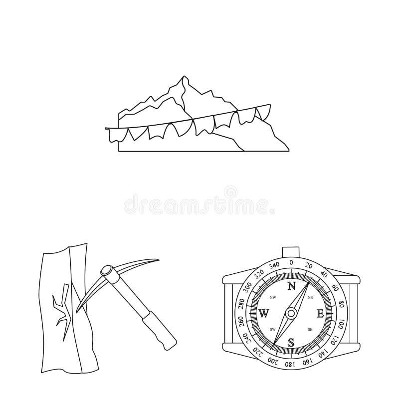 登山和峰顶象被隔绝的对象  套登山和阵营股票的传染媒介象 库存例证
