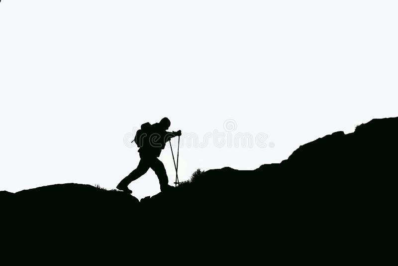 登山家剪影 向量例证