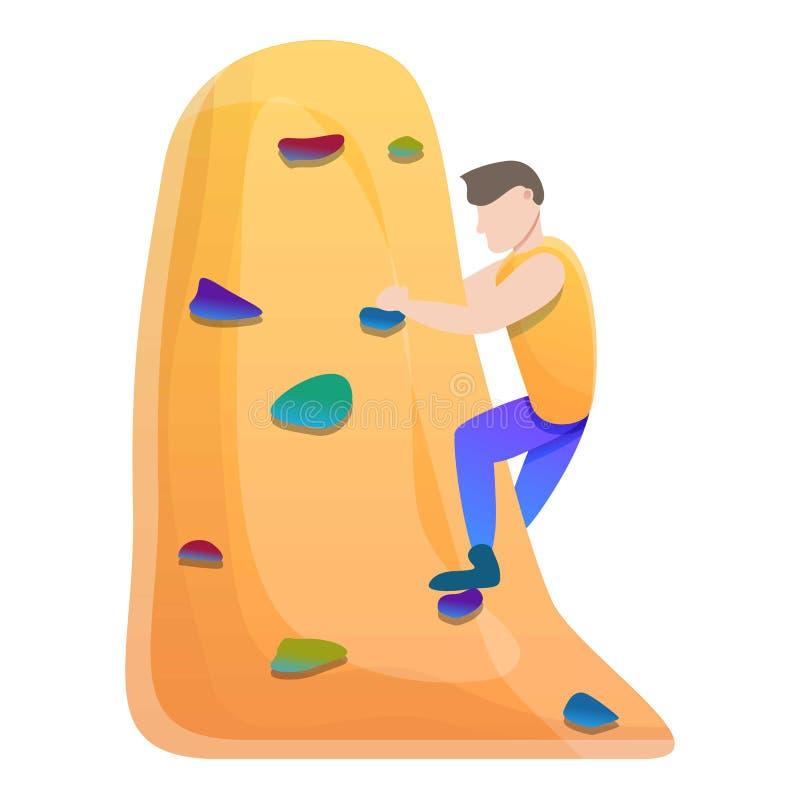 登山家墙壁上升的象,动画片样式 皇族释放例证