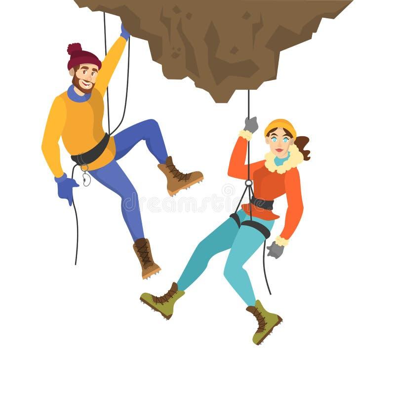 登山家夫妇攀登山 r 皇族释放例证