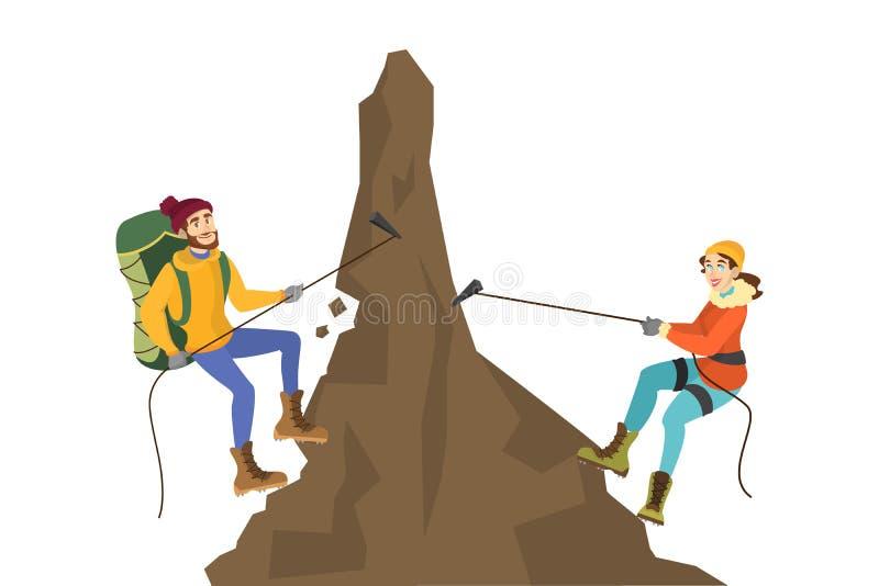 登山家夫妇攀登山 r 库存例证