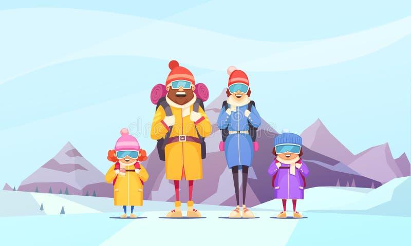 登山家庭动画片 库存例证