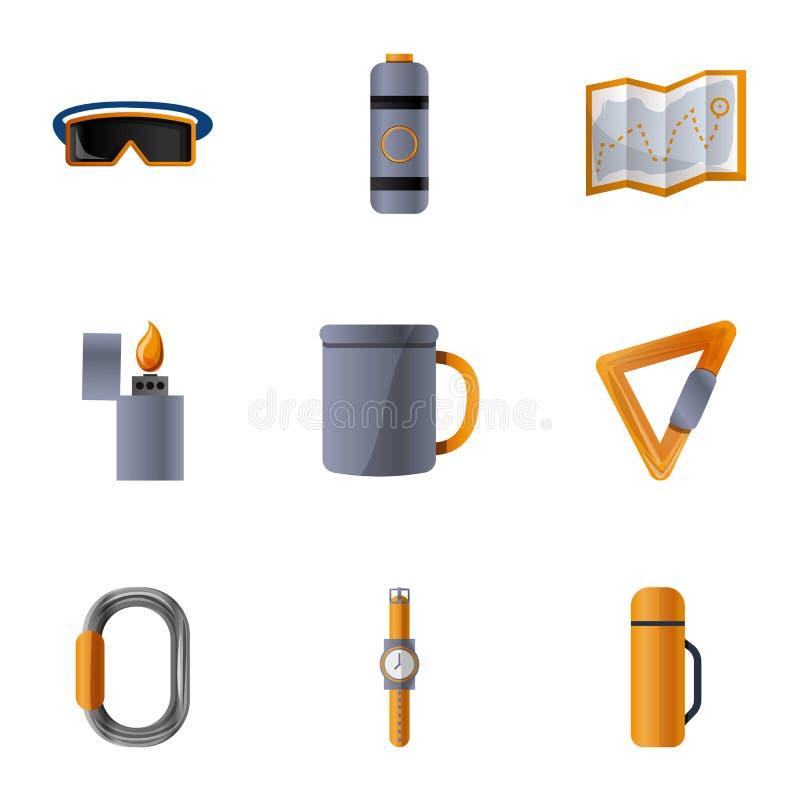 登山工具象集合,动画片样式 库存例证
