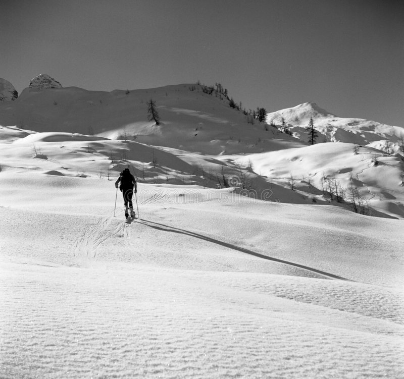 登山滑雪 免版税库存图片