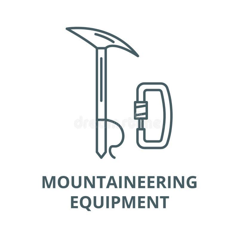 登山设备传染媒介线象,线性概念,概述标志,标志 库存例证