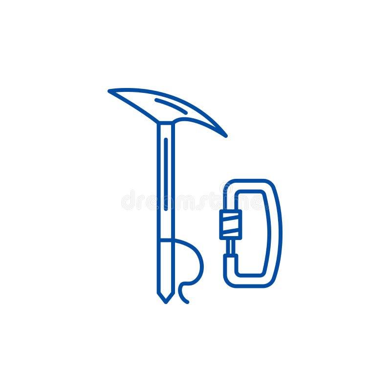 登山设备线象概念 登山设备平的传染媒介标志,标志,概述例证 皇族释放例证