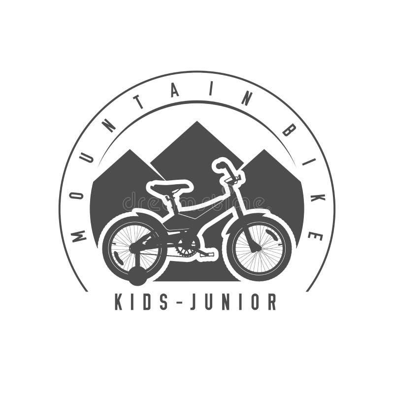 登山车、小辈和孩子象征,徽章 单色传染媒介例证 皇族释放例证