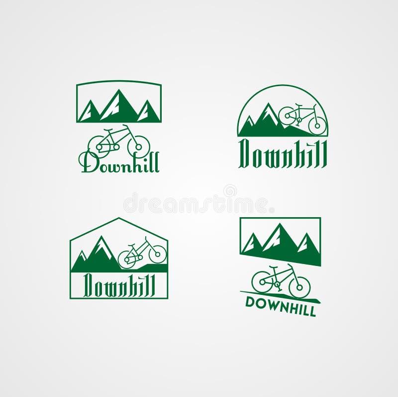 登山车商标,下坡商标收藏传染媒介  向量例证
