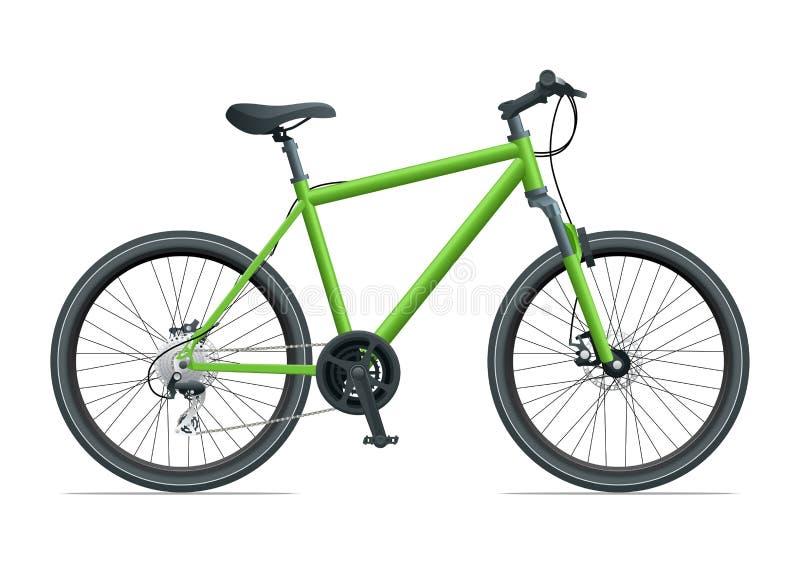 登山车或都市自行车在白色背景传染媒介例证 向量例证