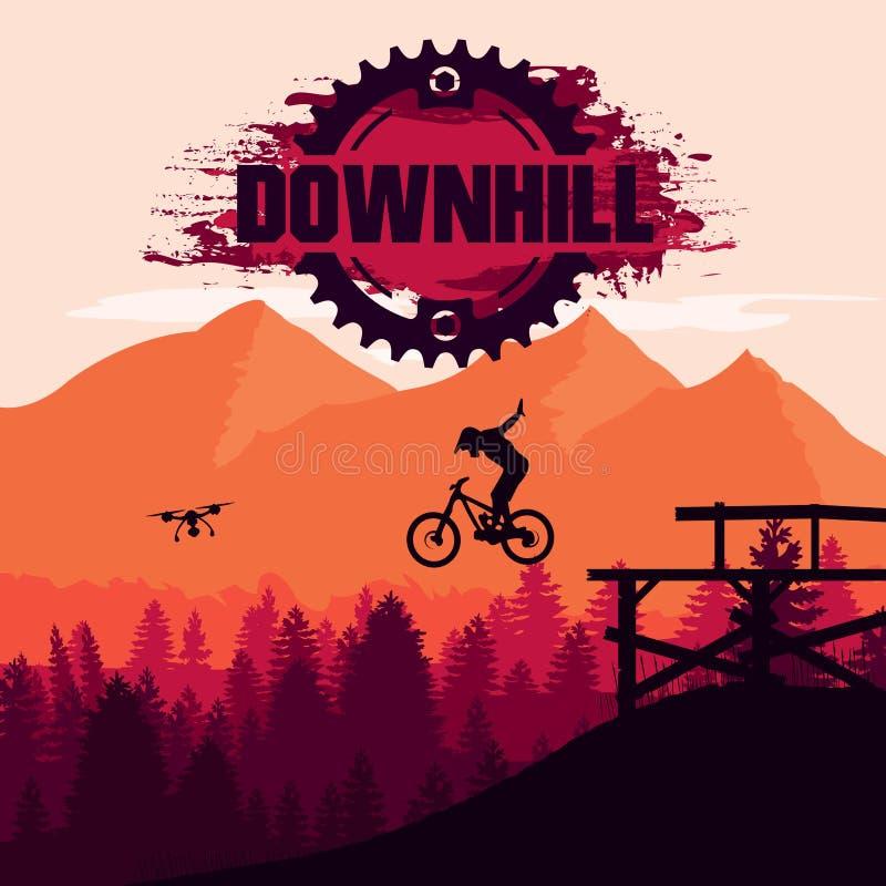 登山车 下坡,freeride,极限运动 山骑自行车的人剪影 皇族释放例证