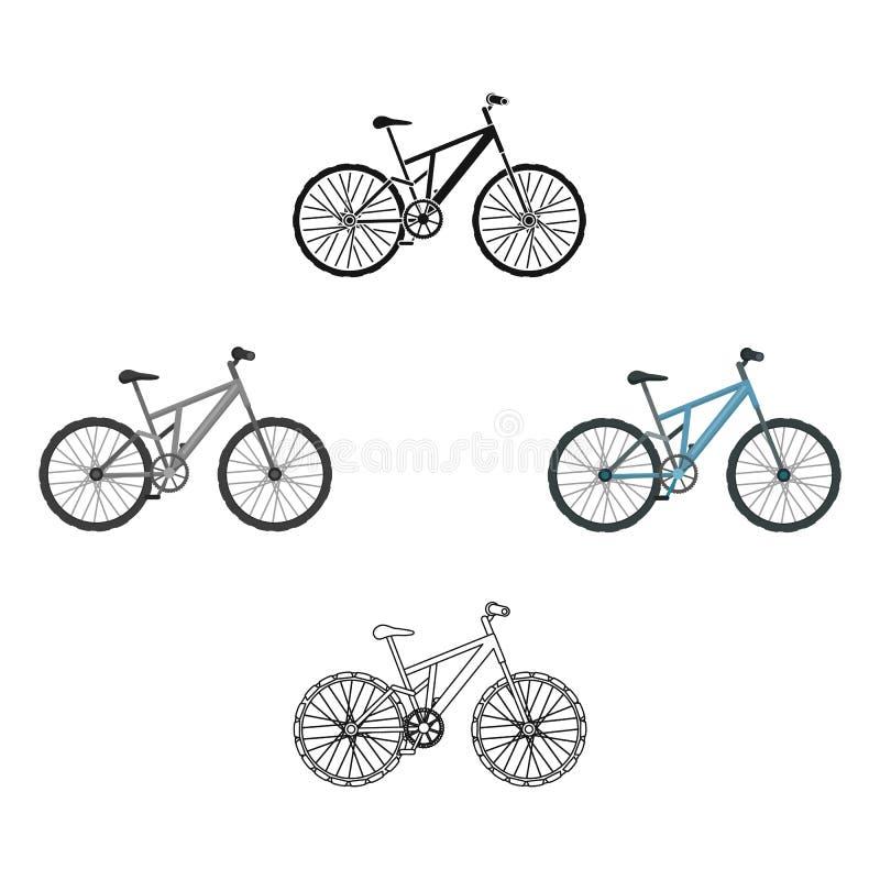 登山车 循环下坡从山 另外在动画片,黑样式传染媒介标志的自行车唯一象 库存例证