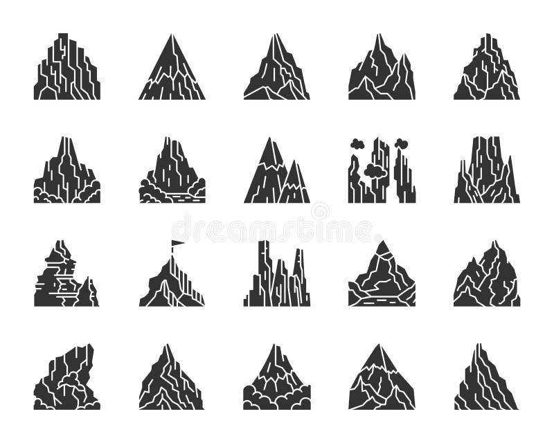 登山黑剪影象传染媒介集合 向量例证