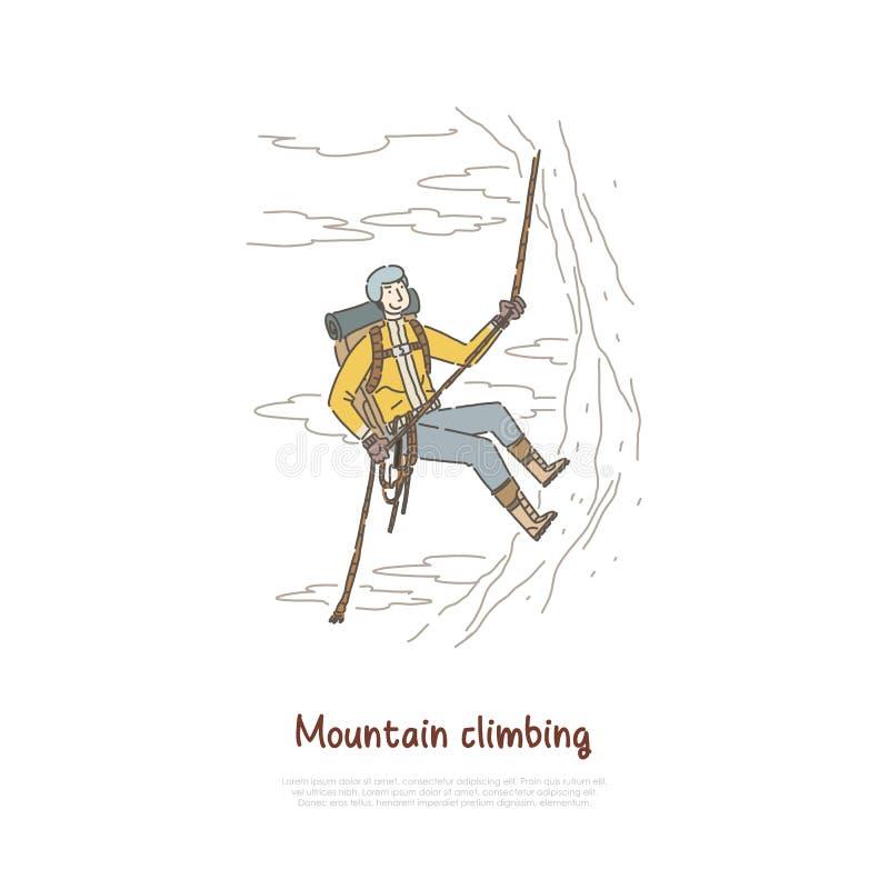 登山,极限运动,活跃假日假期,旅游远足使用登山设备横幅 库存例证