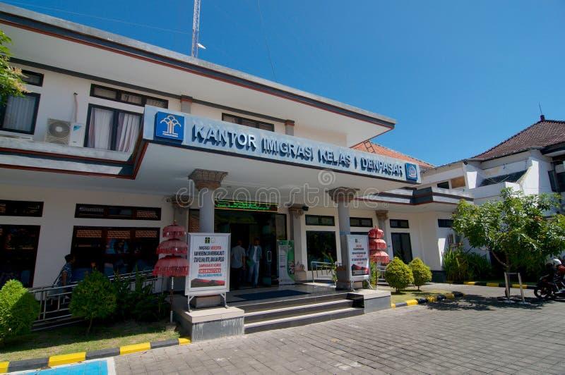 登巴萨移民局侧视图在巴厘岛,印度尼西亚 库存图片