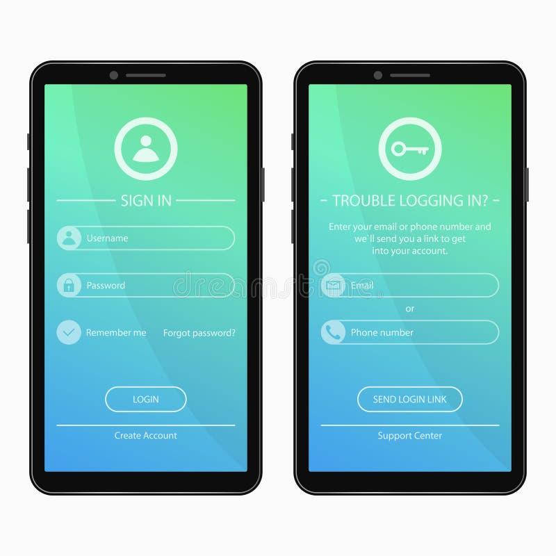 登录页并且忘记了密码表格设计为流动app 智能手机应用的用户界面模板 UI、GUI和UX 皇族释放例证