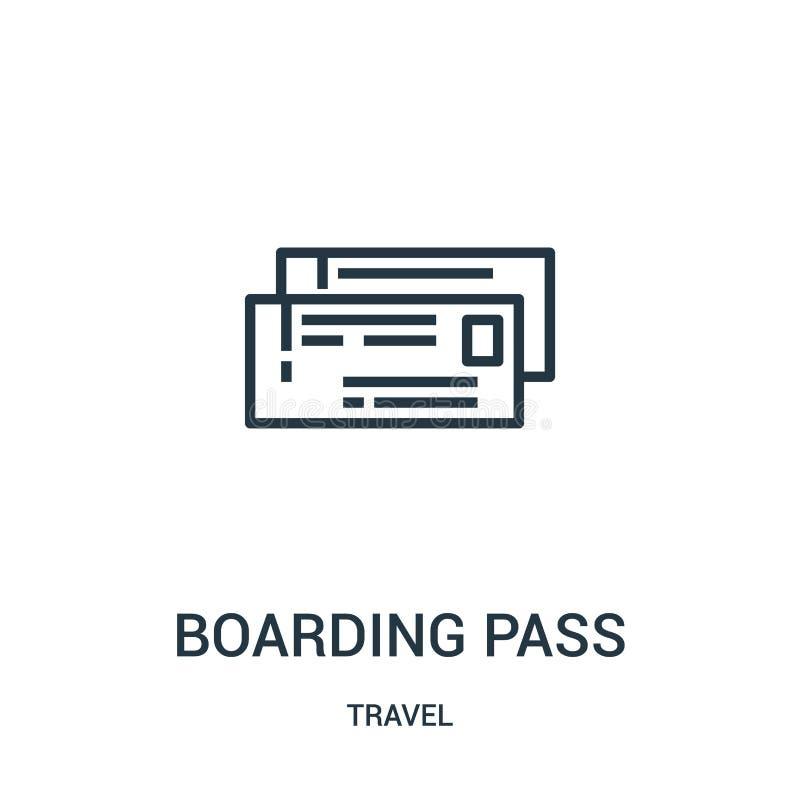 登机牌从旅行汇集的象传染媒介 稀薄的线登机牌概述象传染媒介例证 线性标志为使用 库存例证
