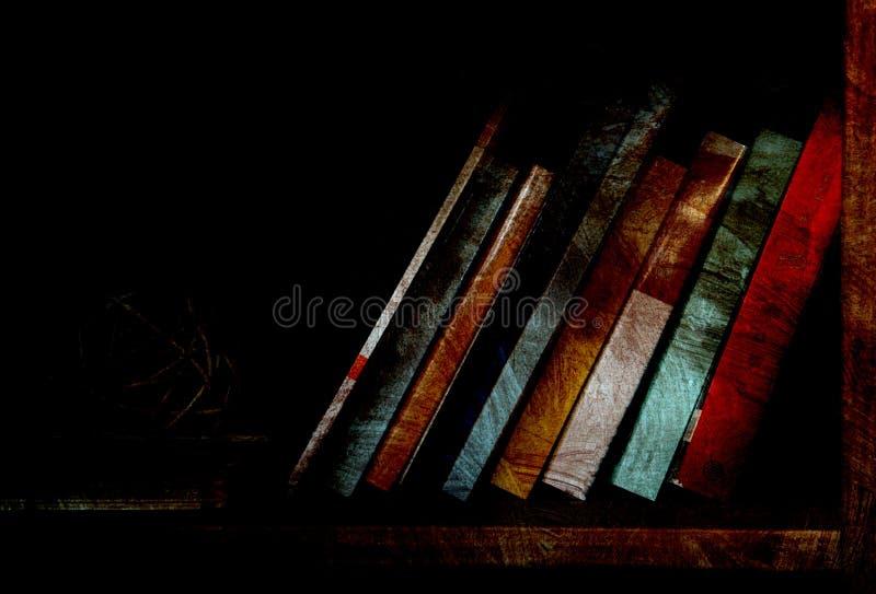 登记昏暗地被点燃的书架 图库摄影