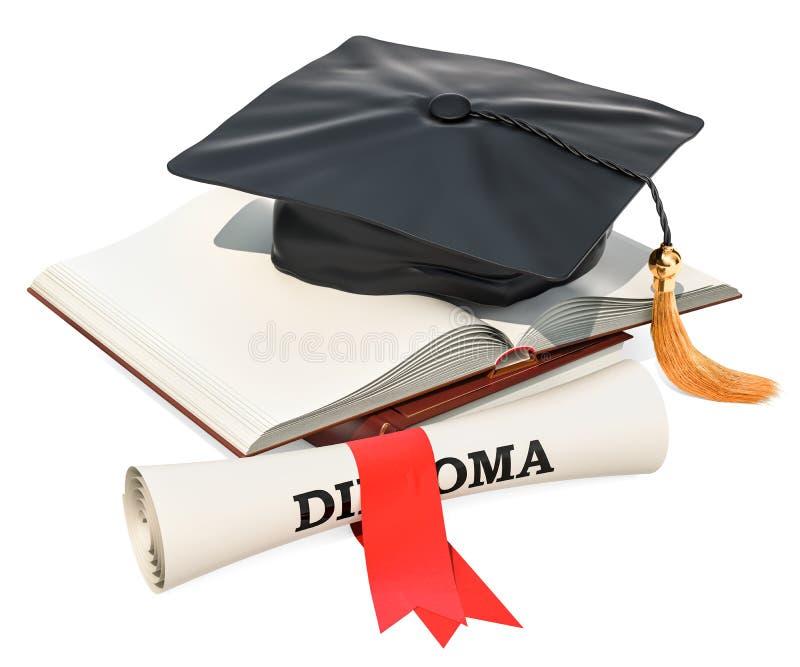 登记概念教育查出的老 与毕业盖帽和垂度的被打开的空白的书 库存例证