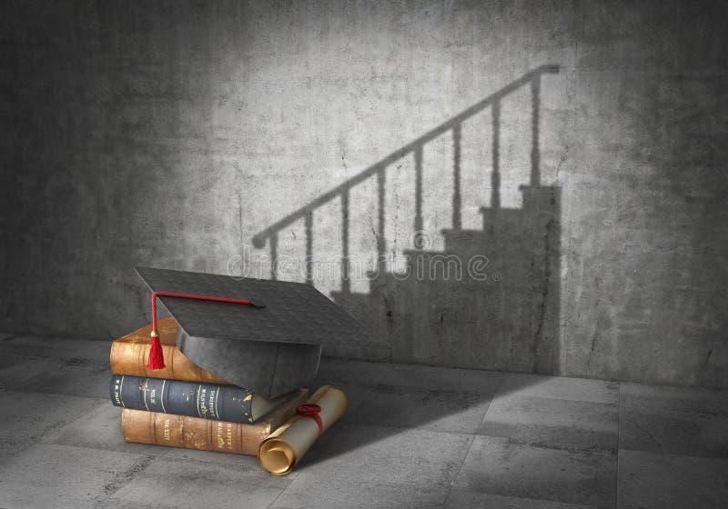 登记概念教育查出的老 事业透视 与文凭的书投下了阴影以事业台阶的形式 3d 向量例证
