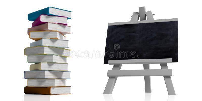 登记概念教育查出的老 在木折叠的画架的黑板,被隔绝反对白色背景和堆五颜六色的书,3d 库存例证