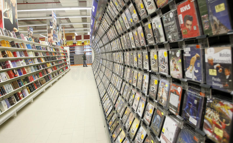 登记部门电影音乐超级市场 免版税库存照片