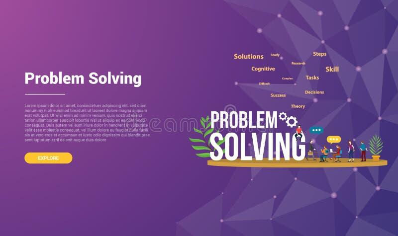 登陆主页横幅有现代紫色紫罗兰色背景-传染媒介的网站模板的解决问题概念 向量例证
