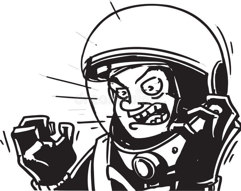 登陆在漫画样式下的恼怒的宇航员黑 免版税图库摄影