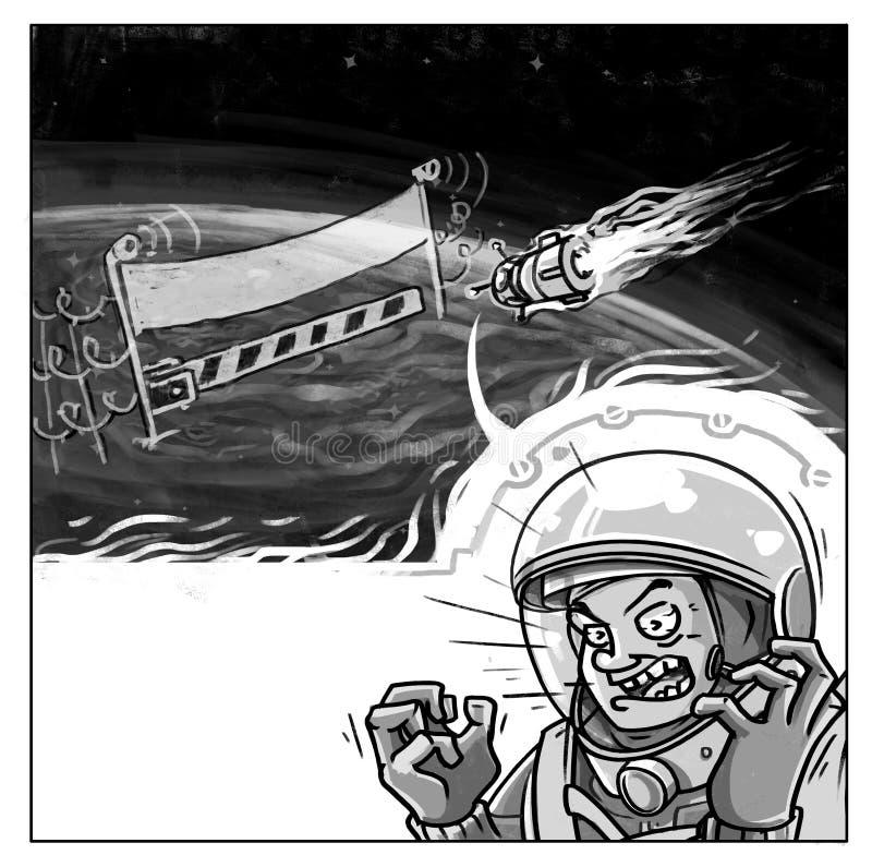 登陆在漫画样式飞行下的恼怒的宇航员 免版税库存照片