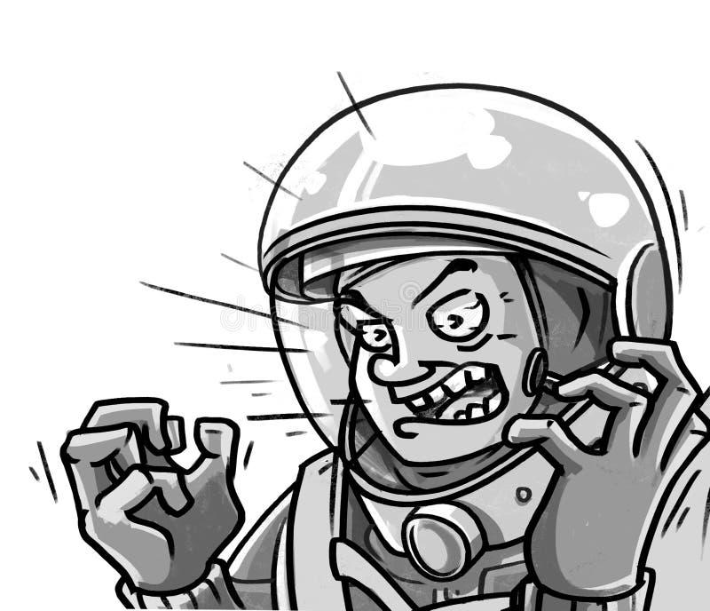 登陆在漫画样式飞行下的恼怒的宇航员 图库摄影