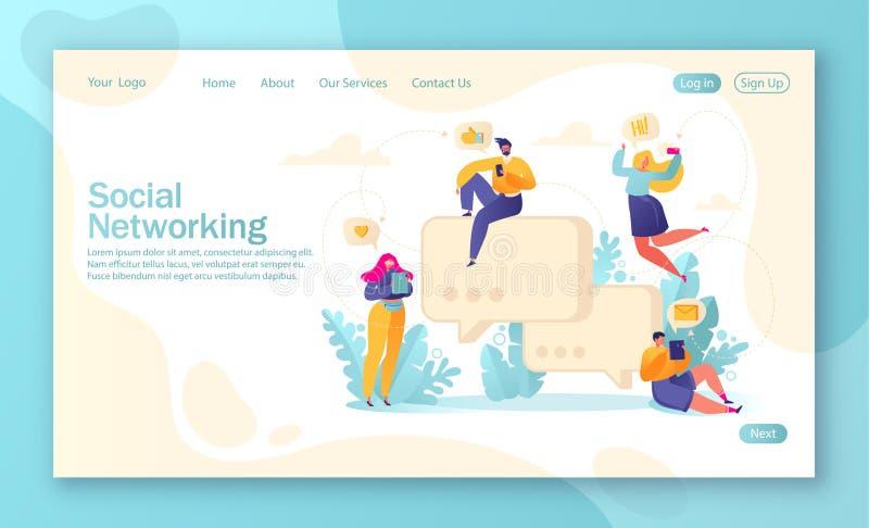 登陆的页、流动网站发展和网页设计的模板与聊天与电话和选项的平的人字符 库存例证